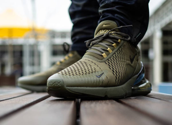 Nike Air Max 270 Triple Olive Canvas Golden Mass on feet (couv)