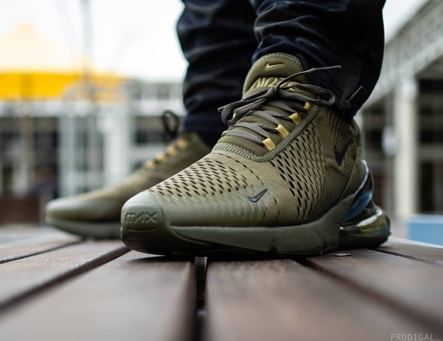 Nike Air Max 270 Triple Olive Canvas Golden Mass on feet