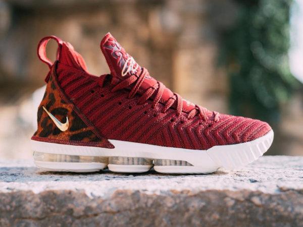 Nike Lebron 16 battleknit bordeaux avec print léopard (5)