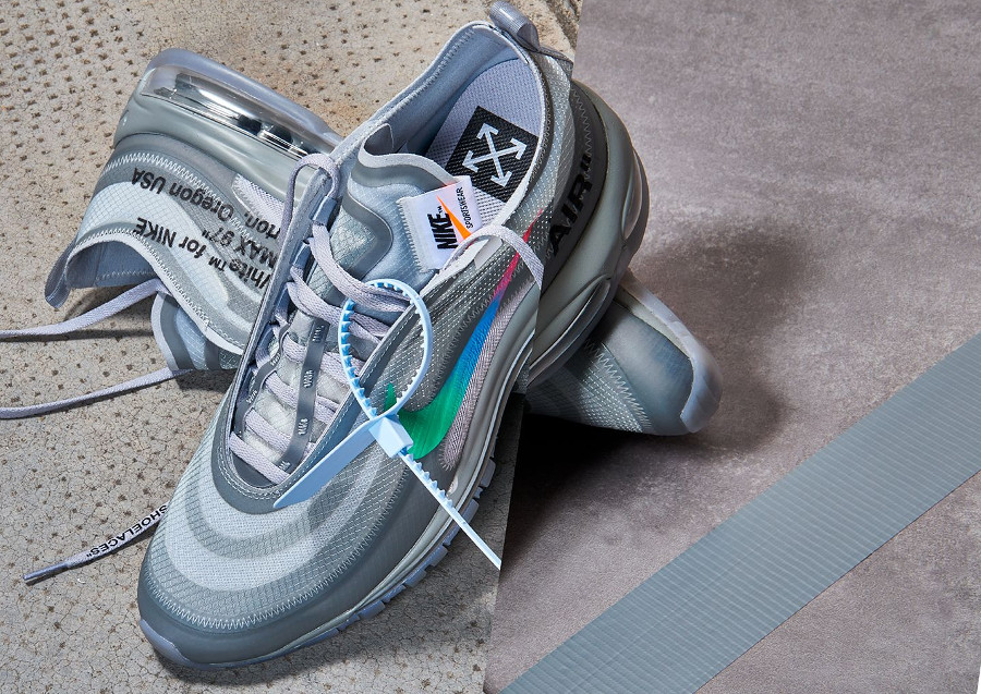 Off White x Nike Air Max 97 grise verte bleue et rose (1)