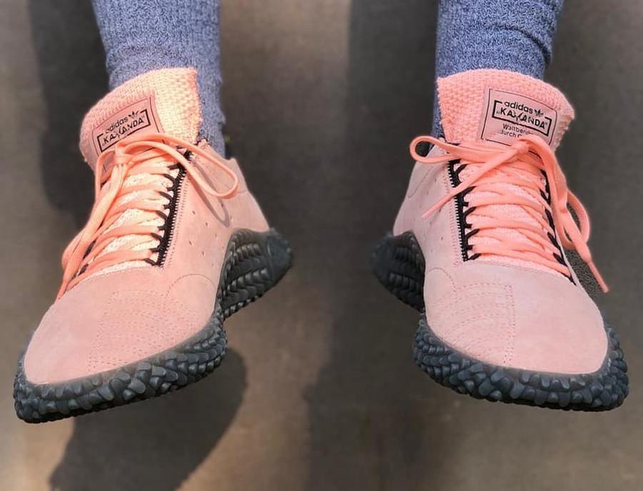 Adidas Kamanda DBZ Haze Coral Energy Ink Shock Yellow on feet (3)