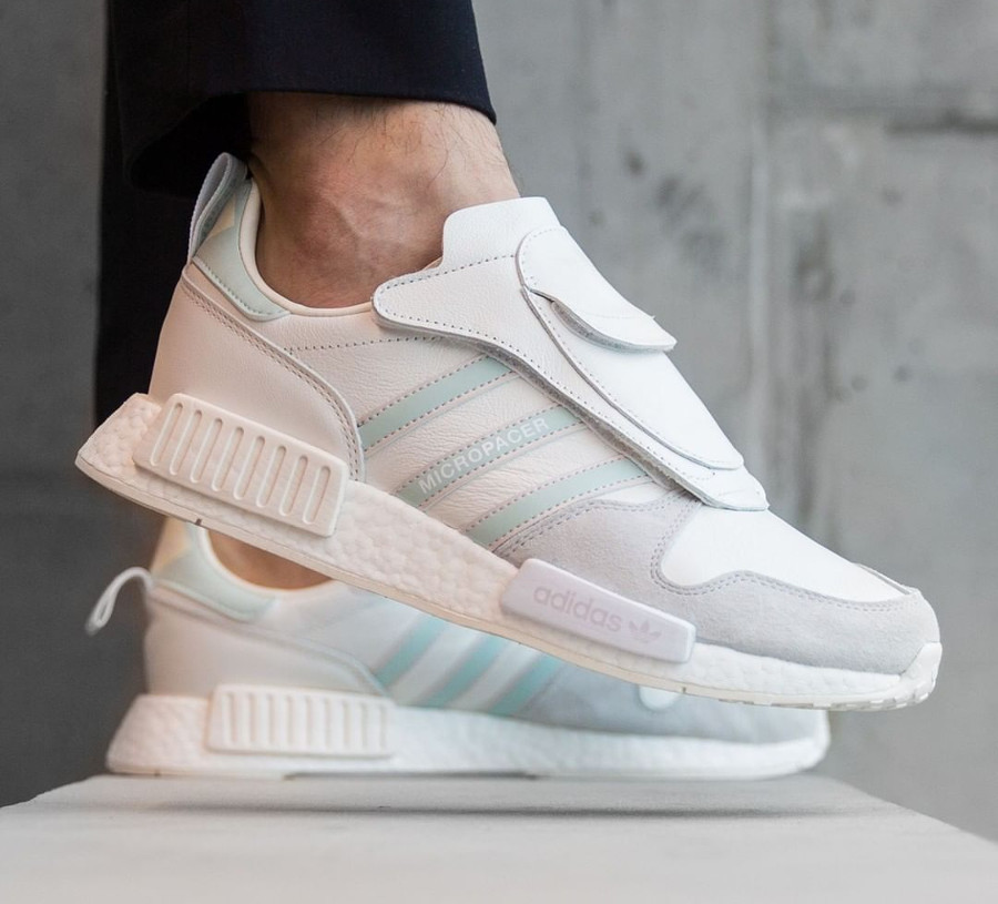 Adidas Micropacer X NMD R1 Cloud White Grey One on feet