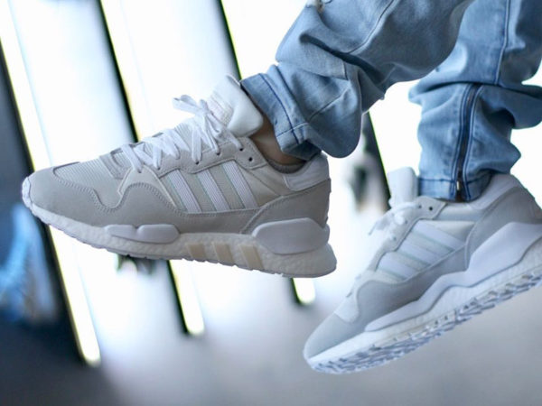 Adidas ZX930XEQT Boost Cloud White Grey One on feet