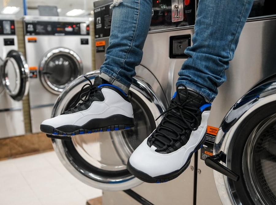 Air Jordan 10 Retro Orlando blanche noire et bleu foncé (6)