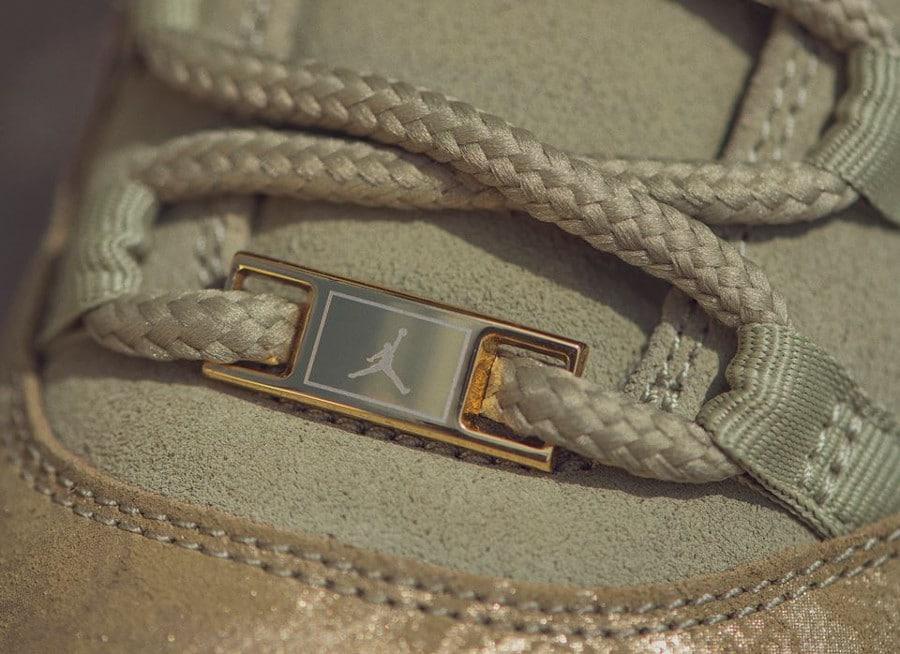 Air Jordan XI luxe en daim vert olive on feet (4)