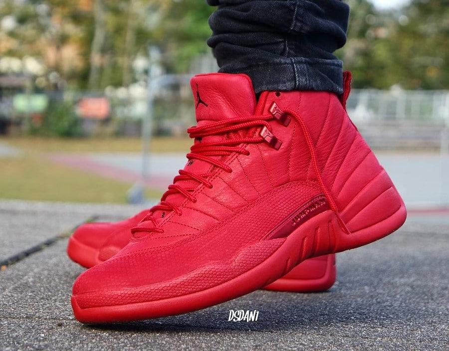 Air Jordan XII Retro toute rouge pour homme (2)