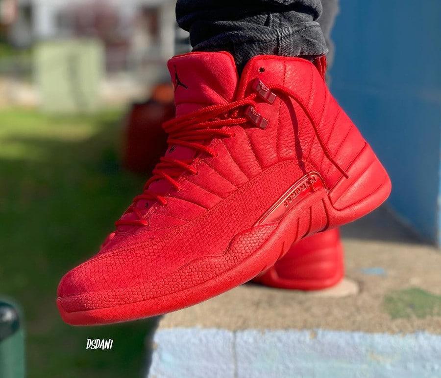 Air Jordan XII Retro toute rouge pour homme (3)