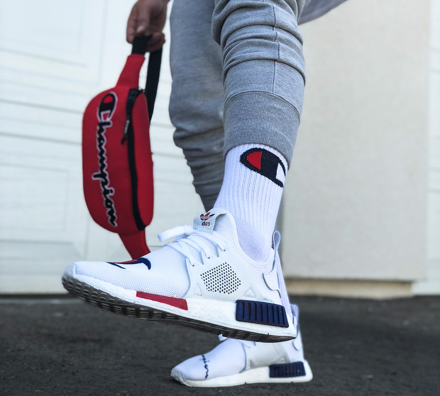 Champion x Adidas NMD XR1 on feet (2)