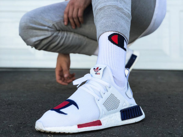 Champion x Adidas NMD XR1 on feet (couv)