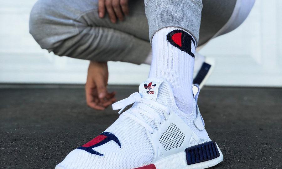 Champion x Adidas NMD XR1 on feet (couv)