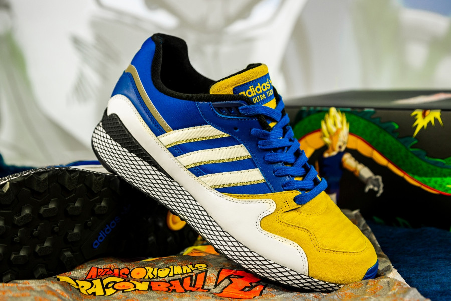 Dragon Ball Z x Adidas Ultra Tech Bejita bleu blanc et jaune (1)