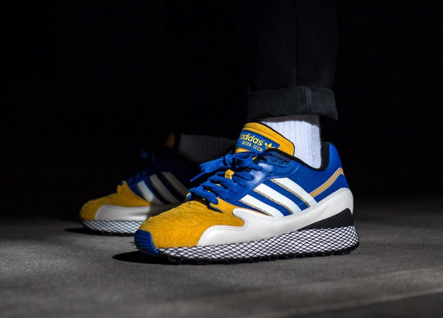 Dragon Ball Z x Adidas Ultra Tech Bejita bleu blanc et jaune (4)