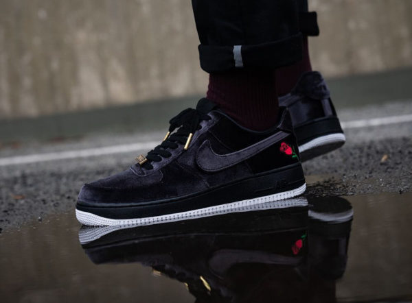 low priced 722c9 b950a Nike Air Force 1 Low  07 QS Black Satin Velvet Rose