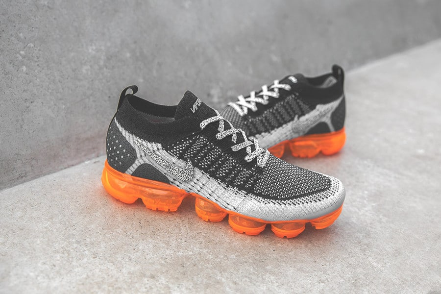 Nike Air Vapormax 2 FK noire grise et orange (imprimé animal) (8)