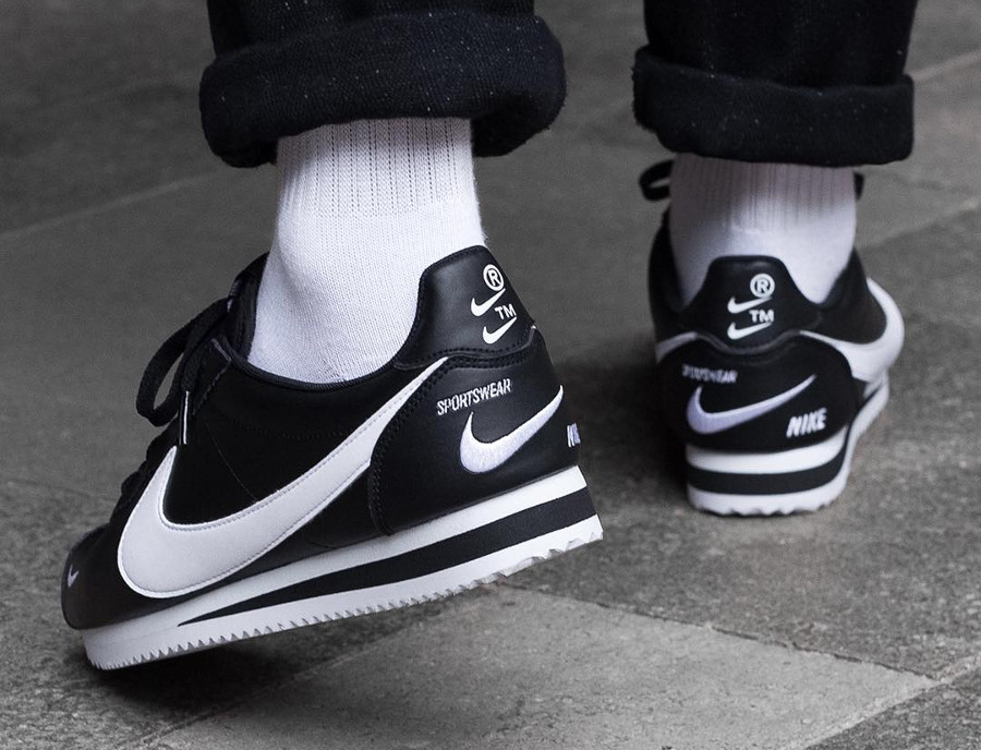 Nike Cortez PRM Black White TM Multiple Mini Swoosh