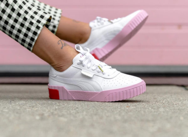 Puma Cali Wn's Selena Gomez White Pale Pink on feet