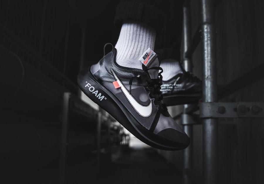 Virgil Abloh x Nike Zoom Fly The Ten noire Black Cone on feet (1-1)