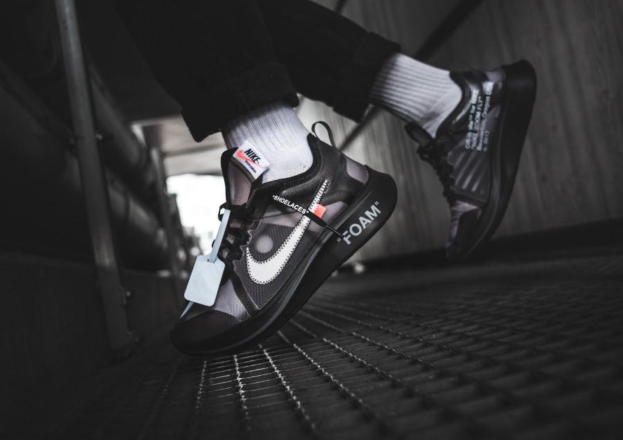 Virgil Abloh x Nike Zoom Fly The Ten noire Black Cone on feet (1)