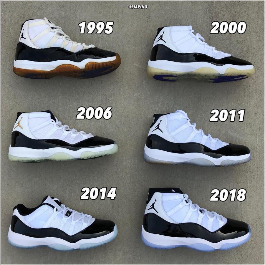 Comparaison entre toutes les Air Jordan 11 (1995, 2000, 2006, 2011 et 2018) (1)