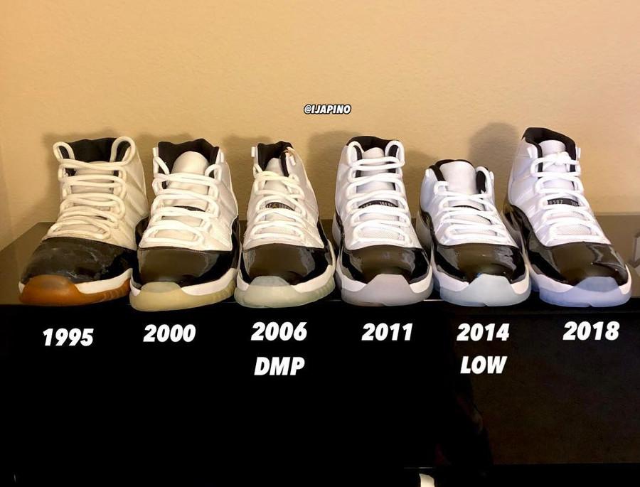 Comparaison entre toutes les Air Jordan 11 (1995, 2000, 2006, 2011 et 2018) (2)