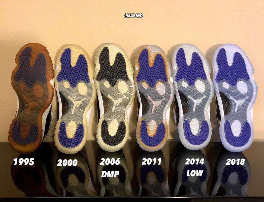 Comparaison entre toutes les Air Jordan 11 (1995, 2000, 2006, 2011 et 2018) (3)