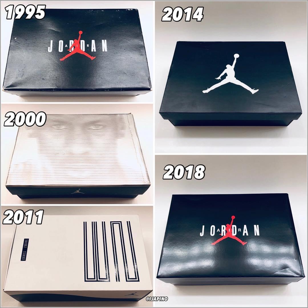 Les boîtes des Air Jordan 11 Concord de 1995 à 2018
