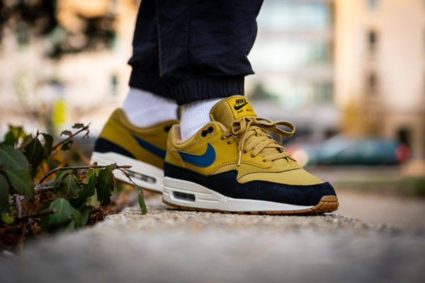 Nike Air Max 1 Golden Moss Blue Force Black on feet
