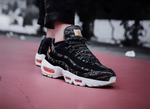 Nike Air Max 95 PRM Carhartt Wip Tiger Camo Ripstop on feet