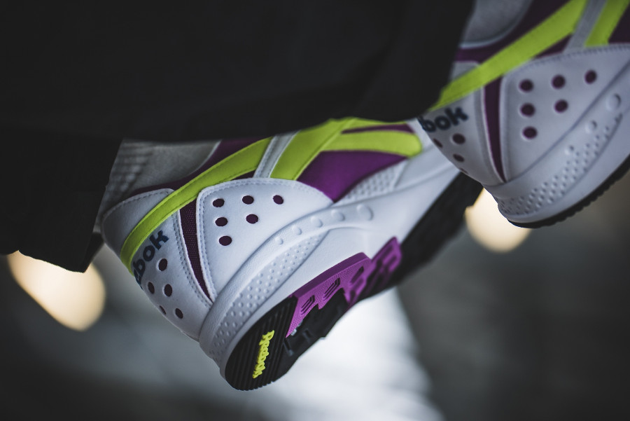 Reebok Pyro White Vicious Violet Neon Yellow on feet (1)