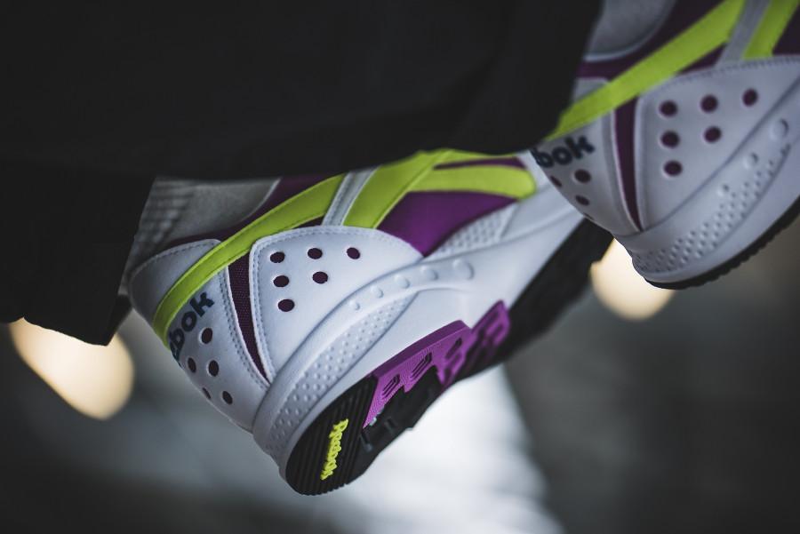Reebok Pyro White Vicious Violet Neon Yellow on feet (1)
