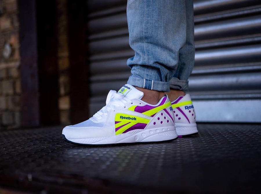 Reebok Pyro White Vicious Violet Neon Yellow on feet (3)
