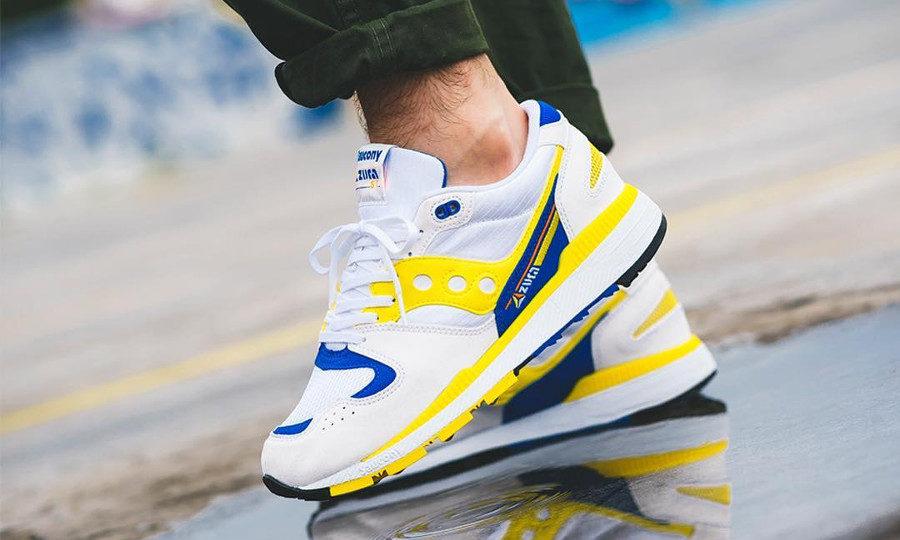 Saucony Azura OG 2018 White Yellow Blue on feet
