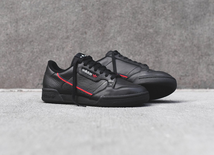 Restock : la Adidas Continental 80 noire Black Red 2019