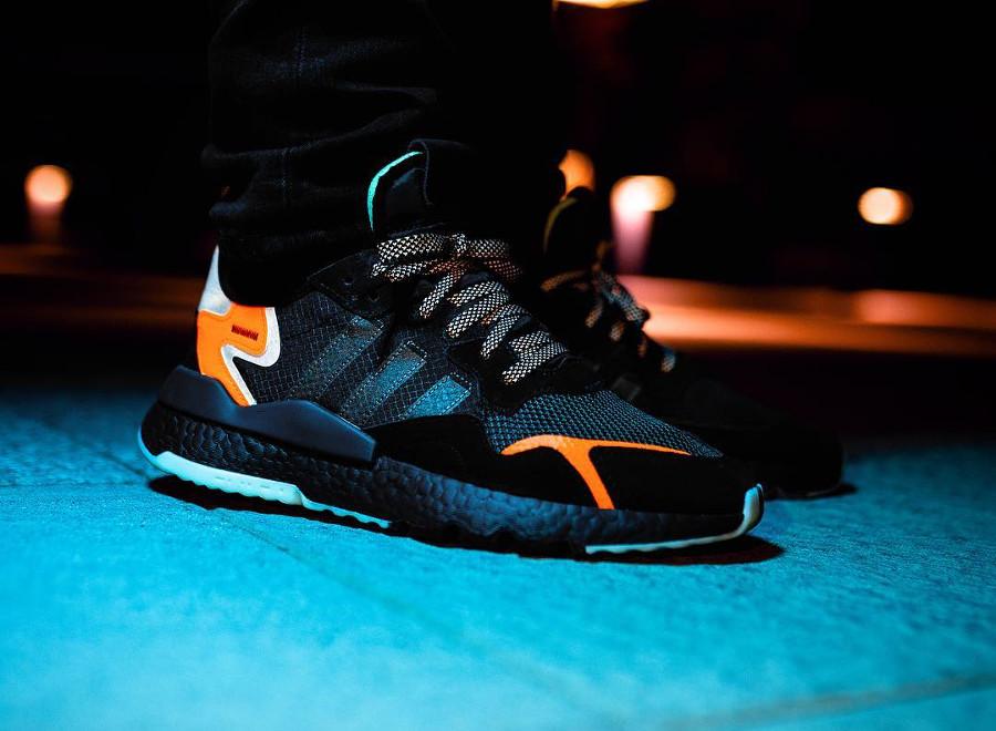 Adidas Nite Jogger Boost réfléchissante noire et orange (3)