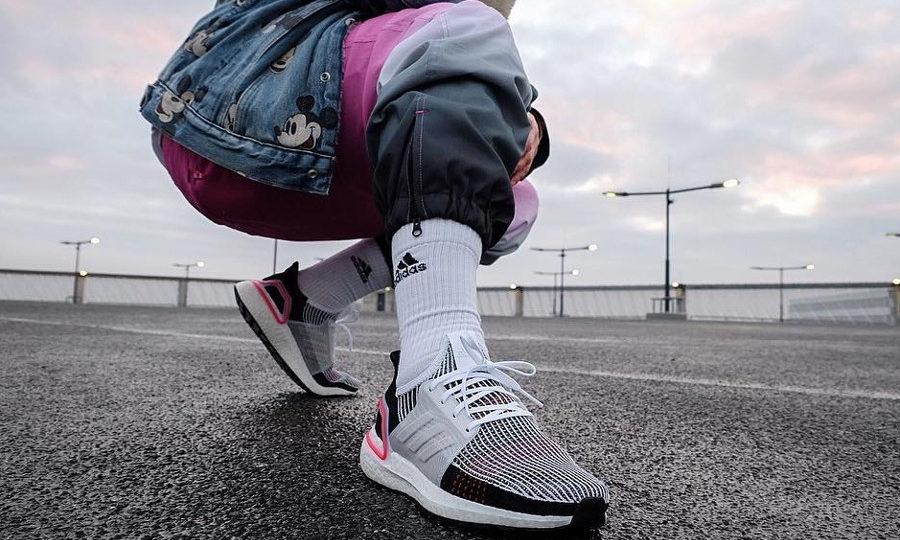 Adidas Ultra Boost 19 White Active Laser Red OG on feet