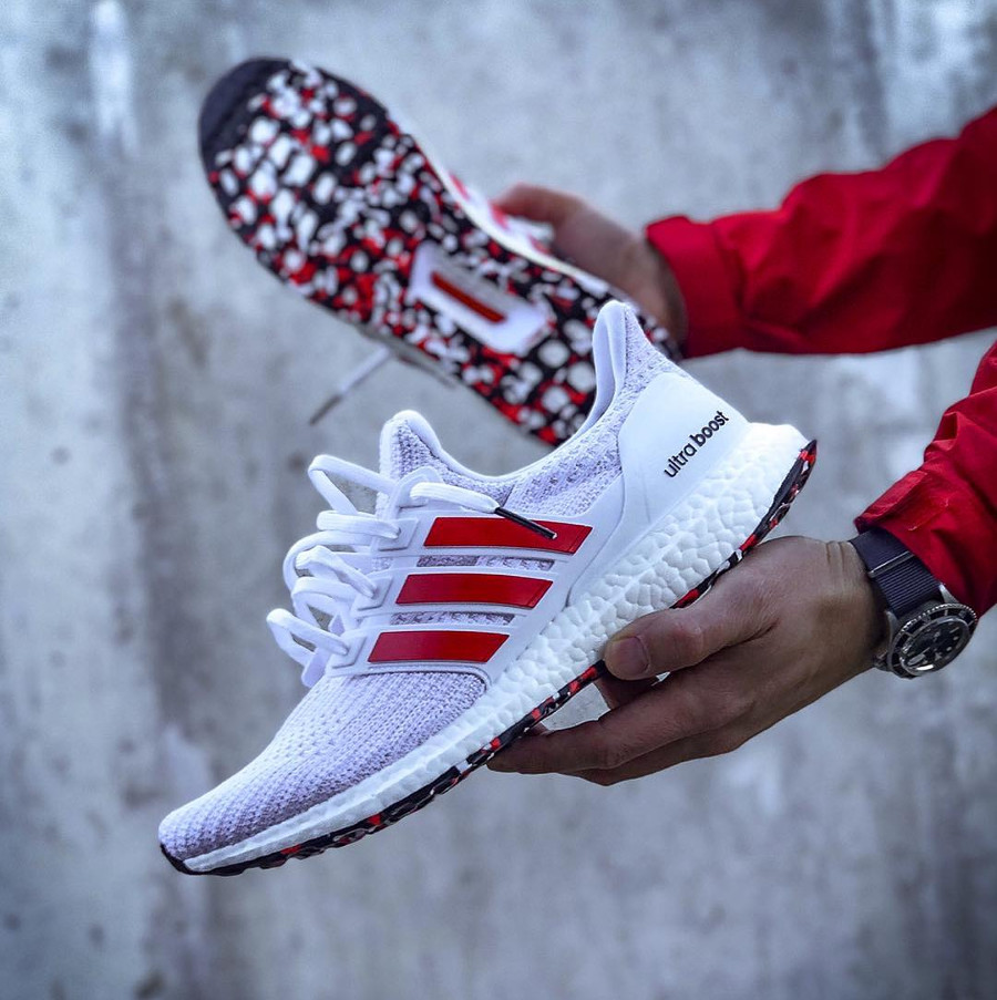 Adidas Ultra Boost 4.0 Marble 'White Active Red' (1)