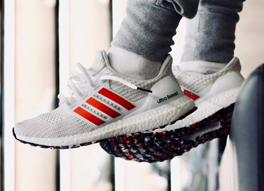 Adidas Ultra Boost 4.0 Marble 'White Active Red'