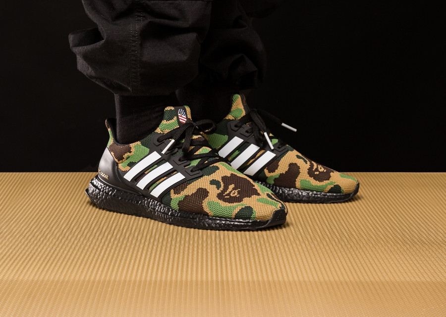 Bape x Adidas UltraBoost Green Camo 'Super Bowl'