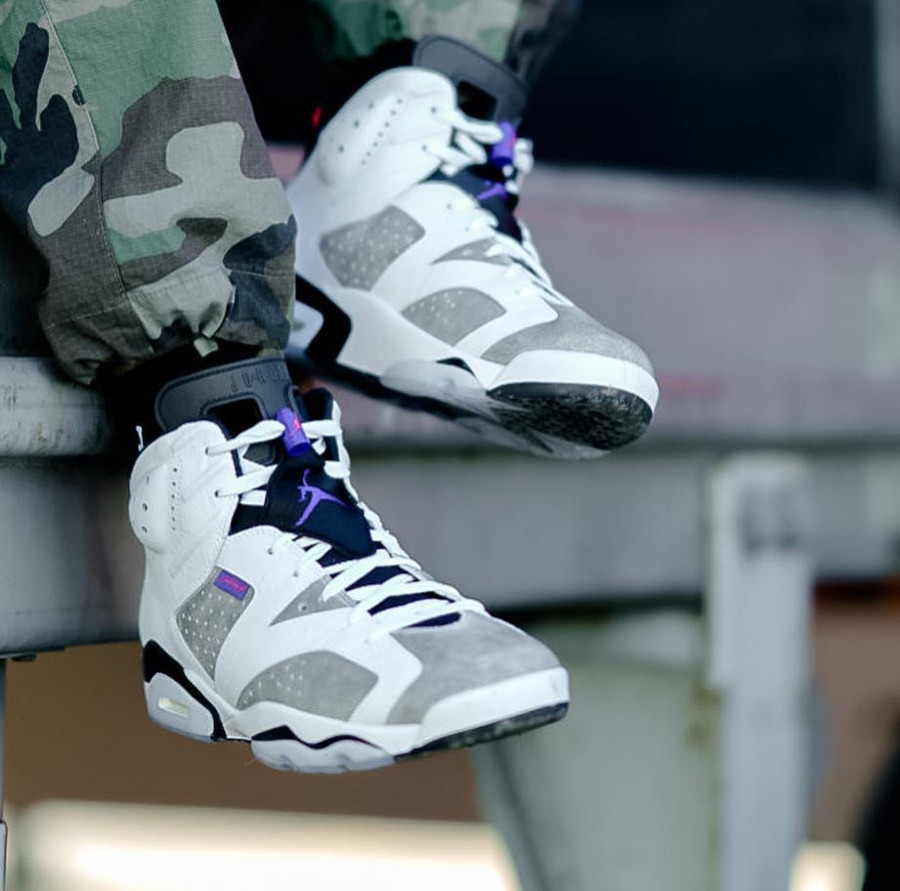 Air Jordan 6 Retro Flight Nostalgia Flint Grey on feet