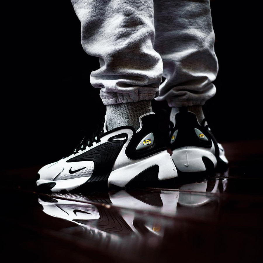 Mens Nike Zoom 2K White Black on feet (1)