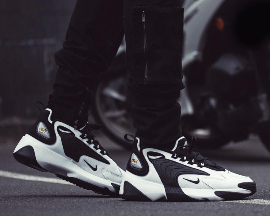 Mens Nike Zoom 2K White Black on feet (2)