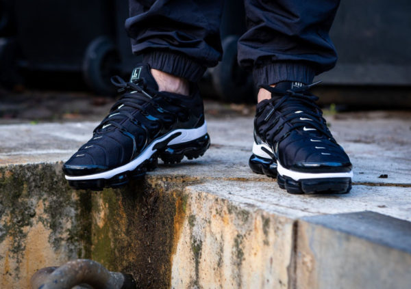 Nike Air Vapormax TN Plus Overbranded Black White on feet