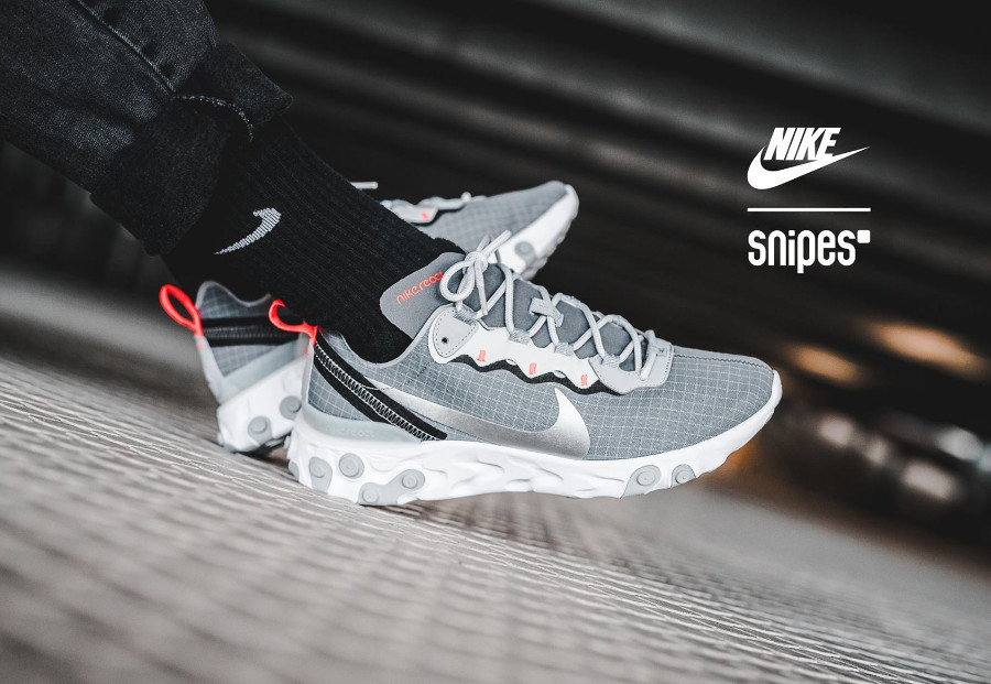 Nike React Element 55 grise avec un grillage blanc (3)