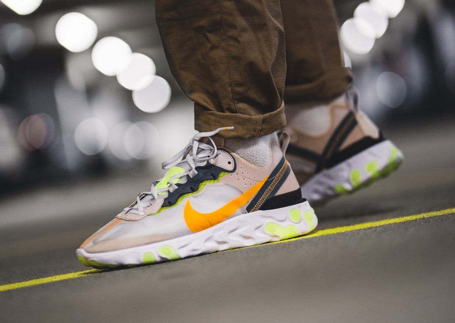 Nike React Element 87 'Touch of Lime' Light Orewood Brown