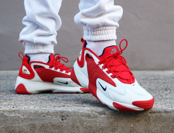 Nike Zoom 2K Off White Obsidian University Red on feet (1)
