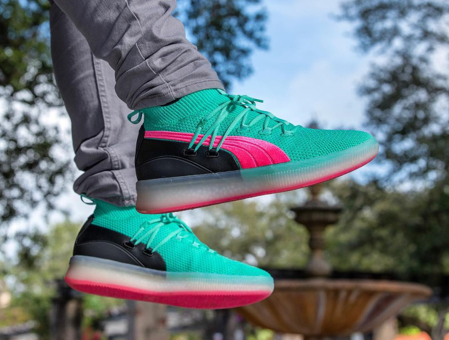 Puma Clyde Court 'South Beach' Biscay Green Pink