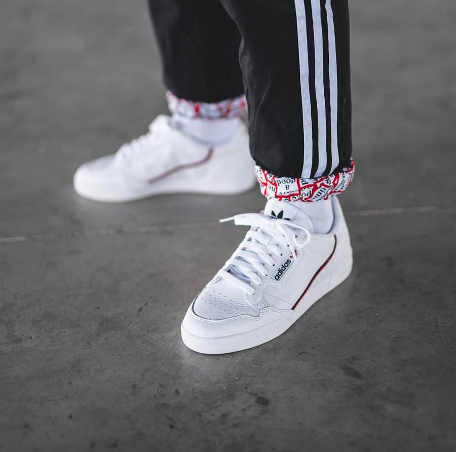 Adidas Continental 80 Rascal White Scarlet Collegiate Navy on feet