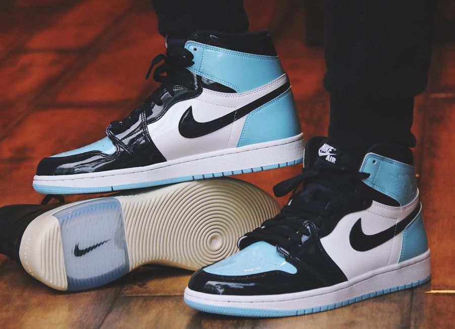 Air Jordan 1 High UNC Patent Leather 'Blue Chill'