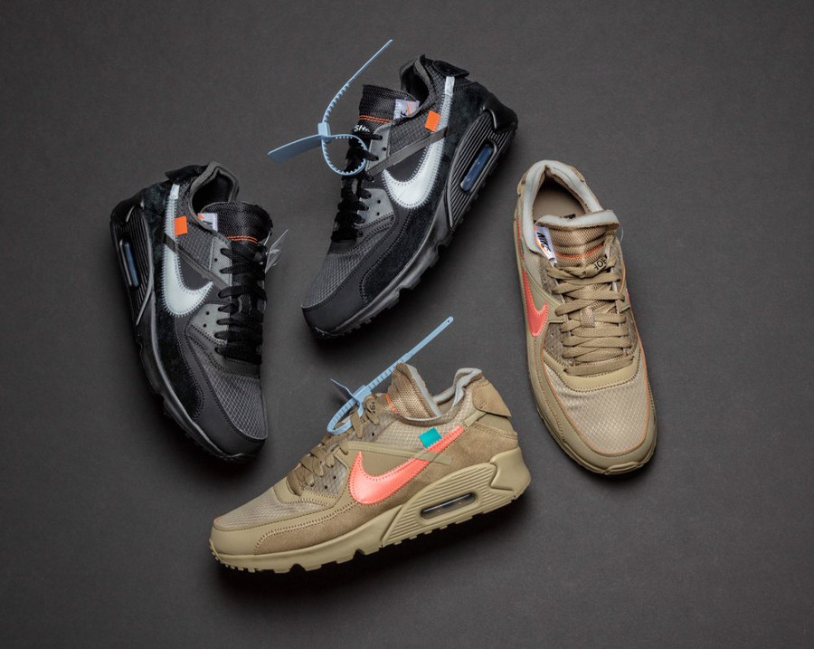 Off White x Nike Air Max 90 Black Cone et Desert Ore