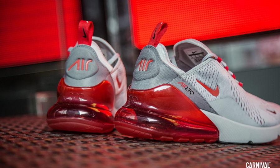 Nike Air Max 270 grise avec une grosse bulle rouge écarlate (6)